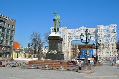 Центр Москвы зимой. Пушкинская площадь. Фотограф Илья LukBigBox Химич. 27-02-2018